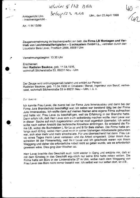 Zeugenvernehmung Baukov 23.04.1999 Amtsgericht Ulm - 1