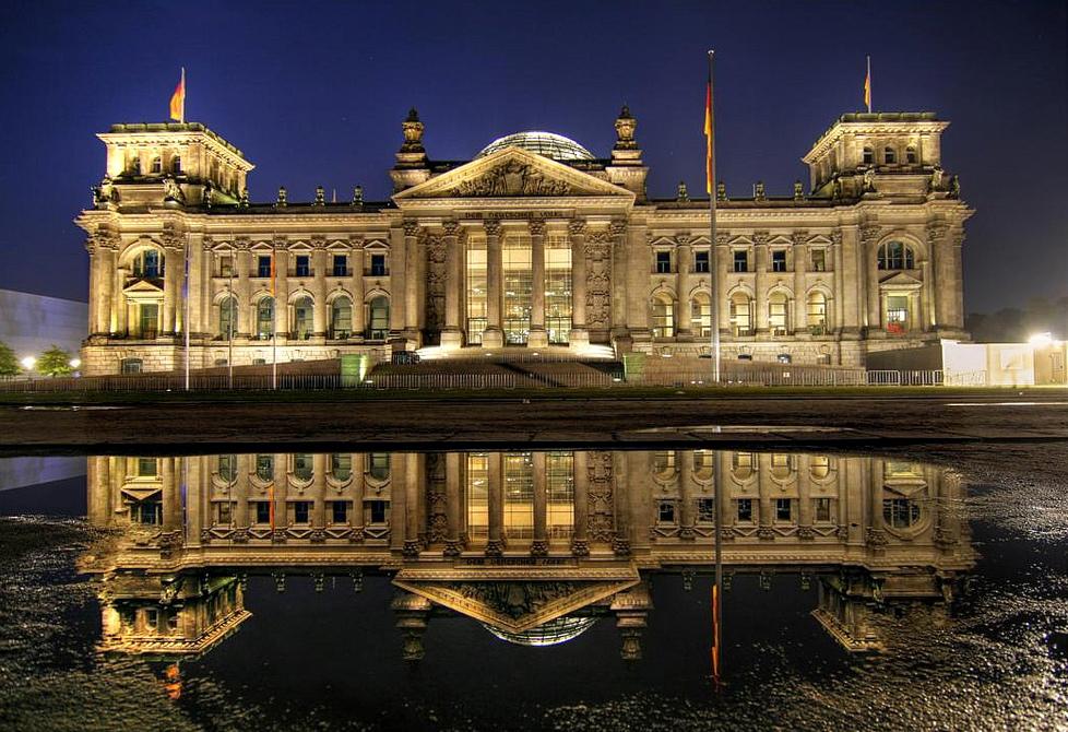 Bundestag - Gebäude nachts