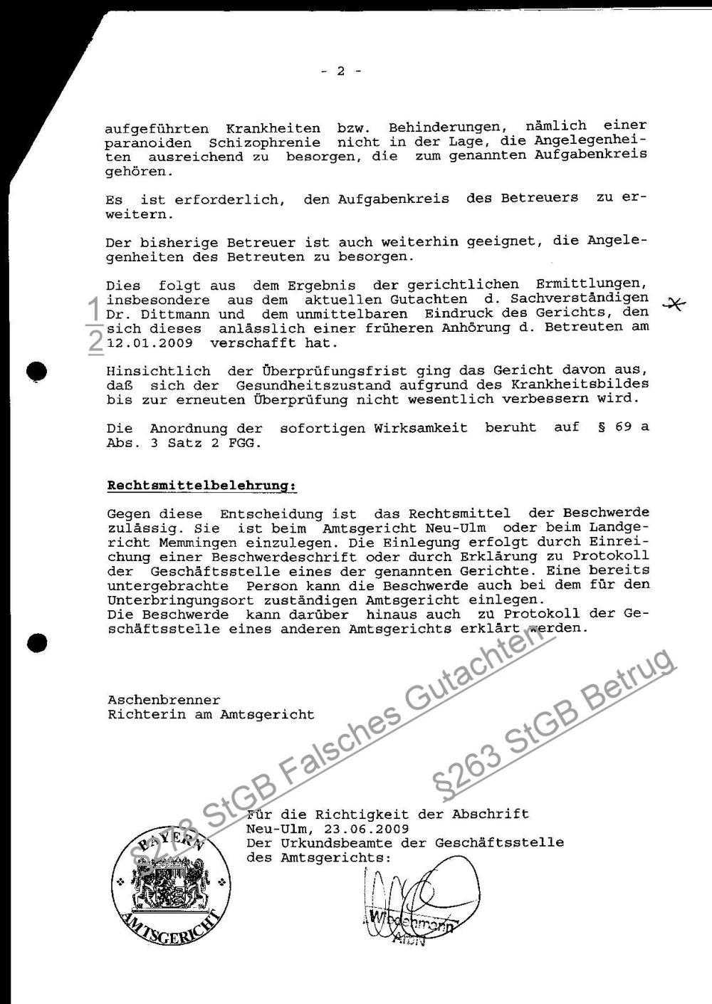 23.06.2009 Gerichtsbeschluß Paranoide Schizophrenie 2