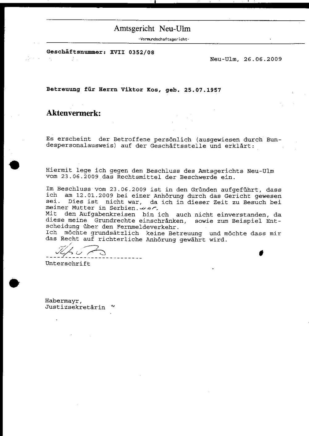 23.06.2009 Gerichtsbeschluß - Widerspruch