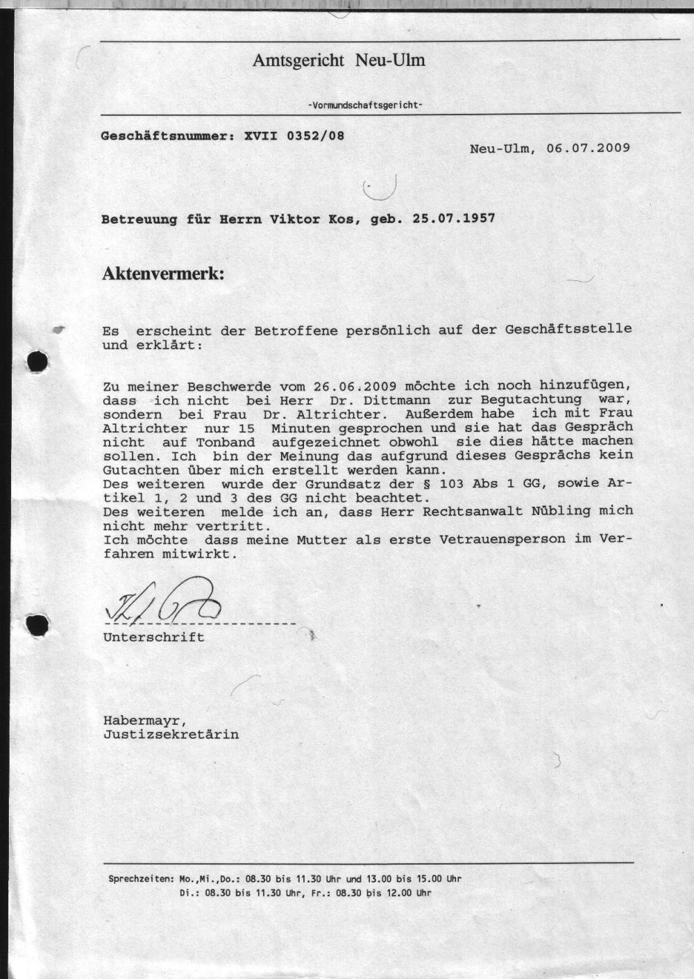 Beschwerde Amtsgericht Betreuung - 06.07.2009.