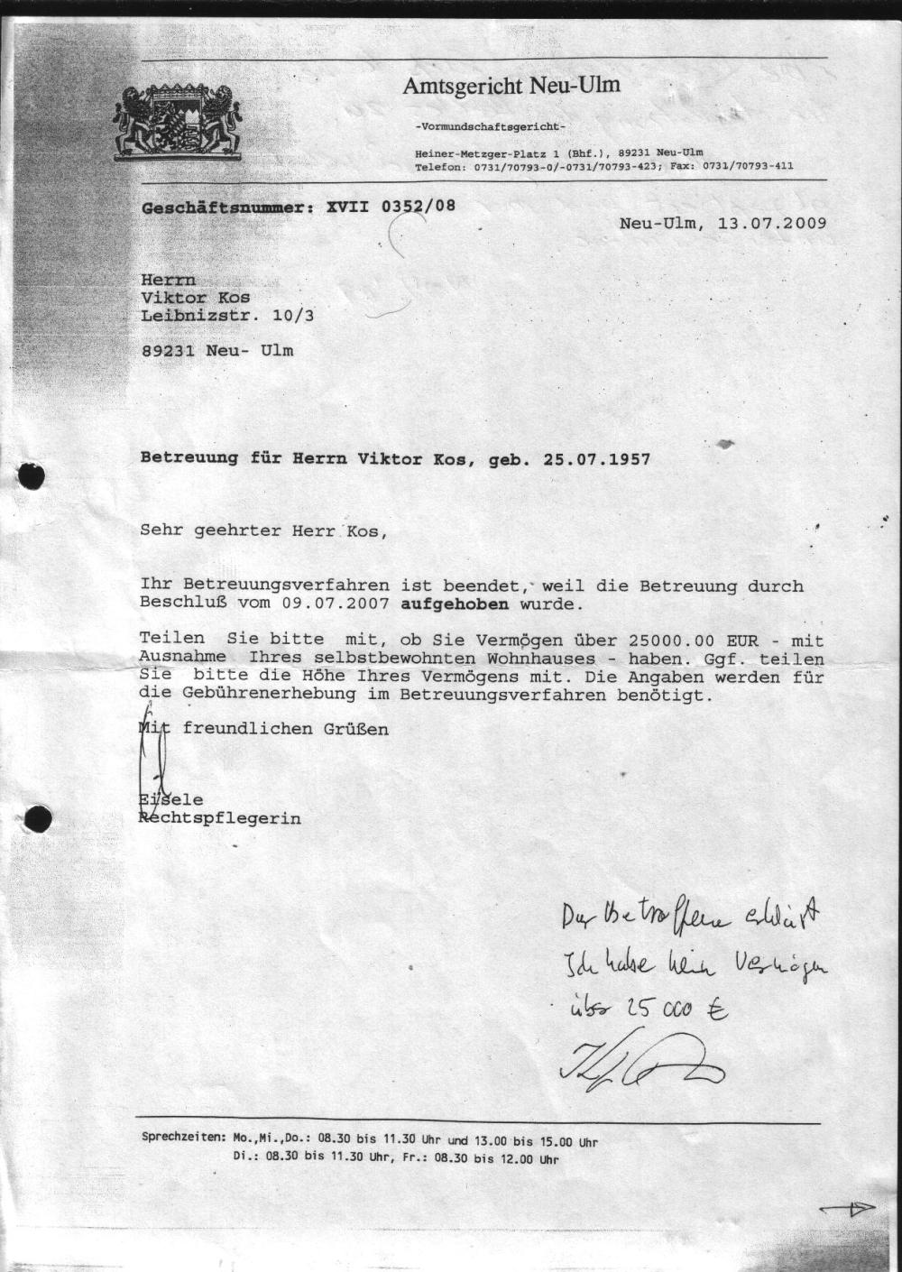 Ende der Betreuung Amtsgericht Betreuung - 13.07.2009. 001